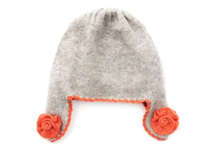 Cashmere Earflap Hat, Gray/Coral