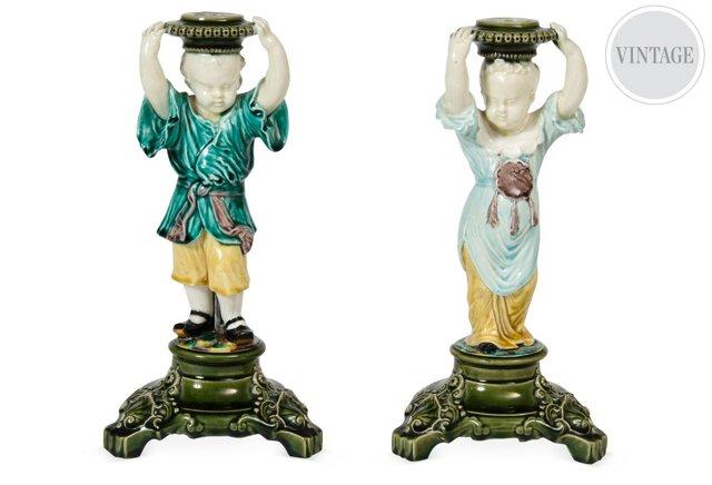 Antique Majolica Candlesticks, Set of 2