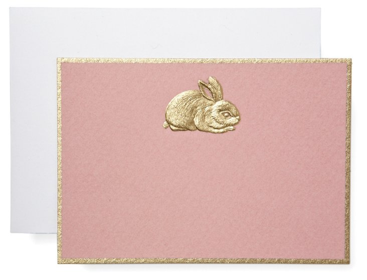 S/10 Engraved Rabbit Box Notes, Pink