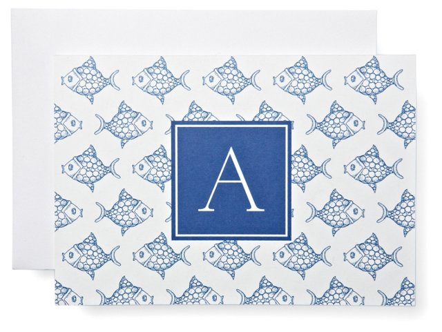 S/20 Initial Fish Notes in Box, Blue