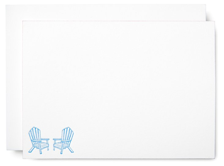 """S/10 6"""" Note Cards, Adirondack Chairs"""