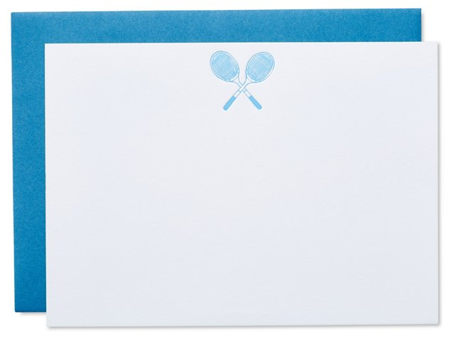 S/10 Tennis Note Cards, Blue