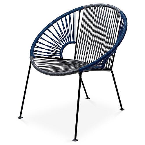 Ixtapa Lounge Chair, Gray/Navy Blue