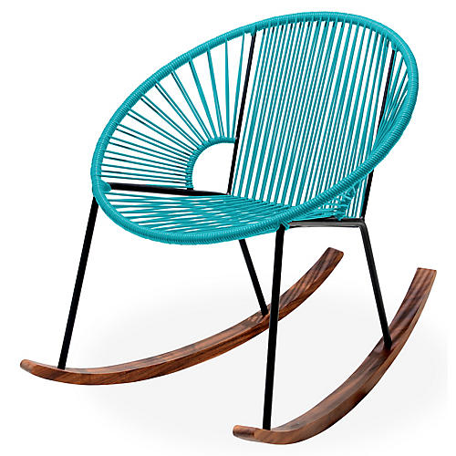 Ixtapa Rocking Chair, Turquoise