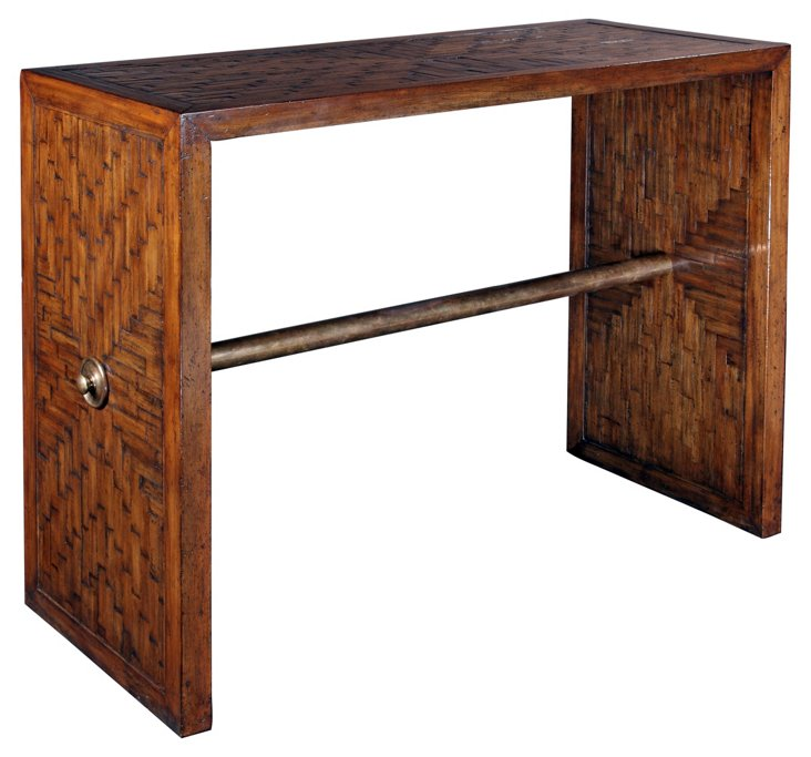 """Brass Rail 44"""" Console Table, Maple"""