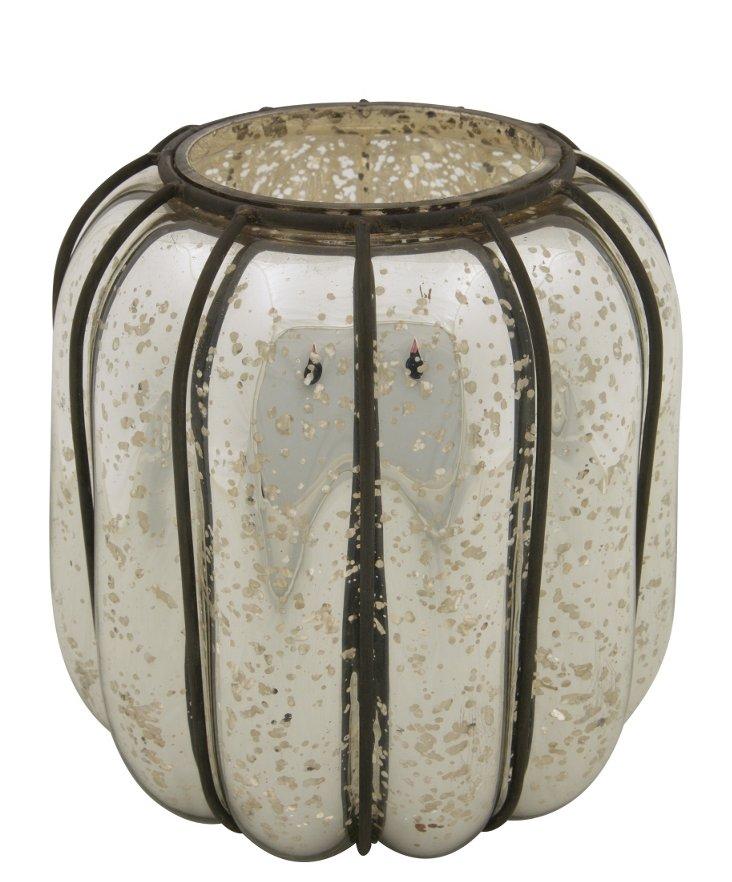 """9"""" Ribbed Vase, Antiqued Silver"""