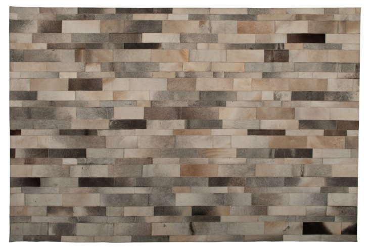 6'x9' Pavement Cowhide Rug, Charcoal/Tan