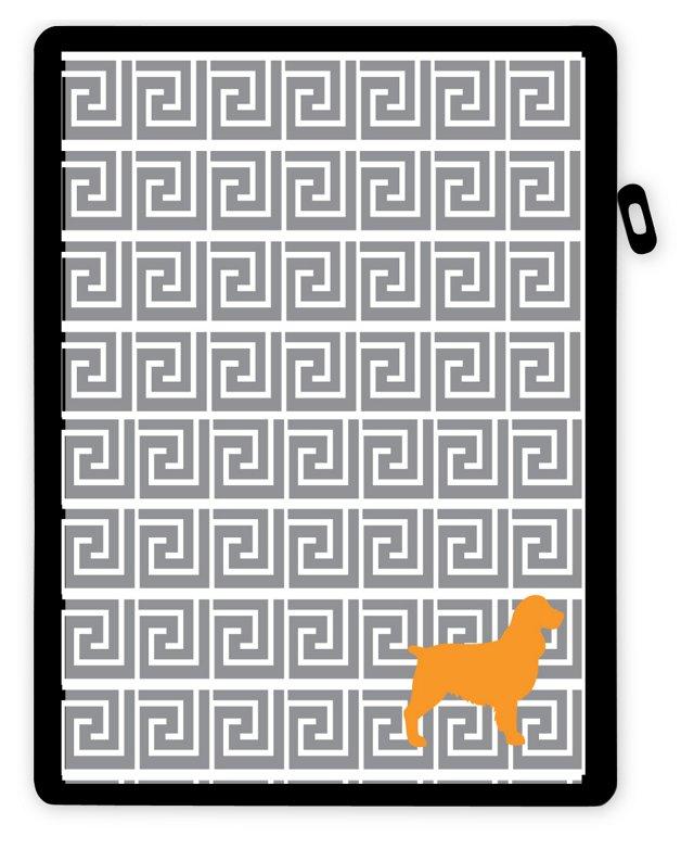 Custom Pup iPad Case, Greek Key Gray