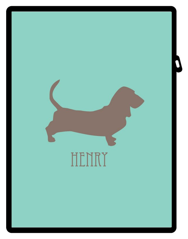 Custom Pup iPad Case, Mint