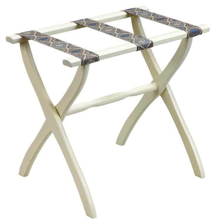 Ellen Luggage Rack, Ivory/Blue