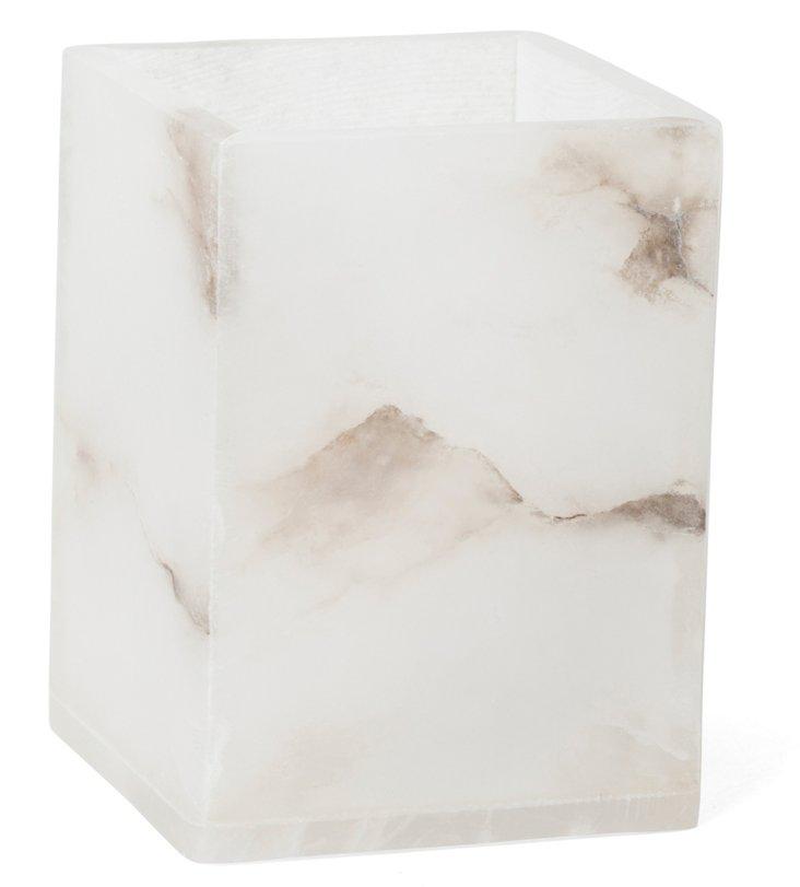 Solid Alabaster Square Tumbler, White