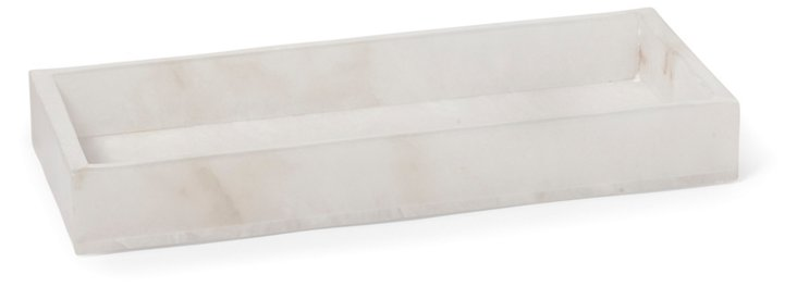 Solid Alabaster Vanity Tray, White