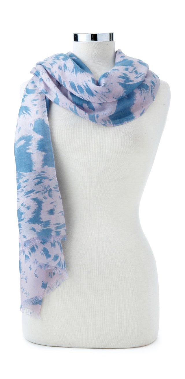 Cashmere/Silk Fringe Wrap, Lavender