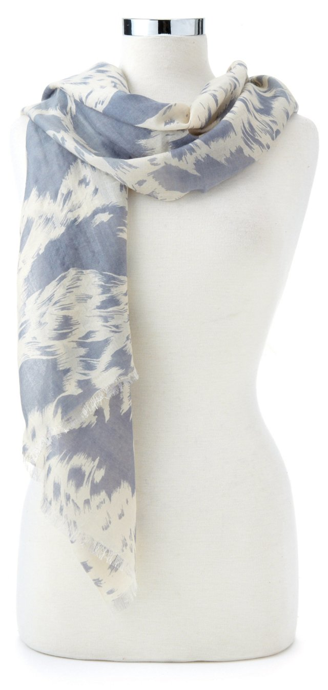 Cashmere/Silk Fringe Wrap, Gray