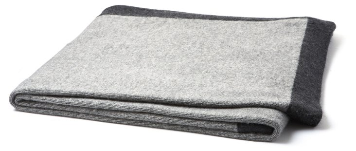 Contrast Cashmere Throw, Gray/Charcoal
