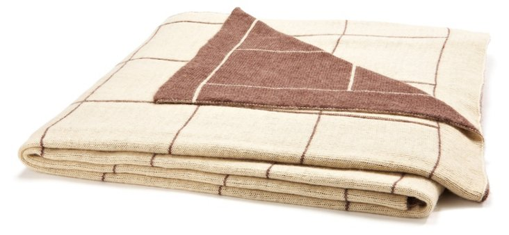 Square Throw, Cream/Sable