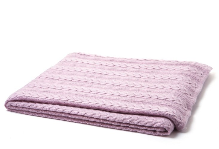 Cable-Knit Throw, Wisteria