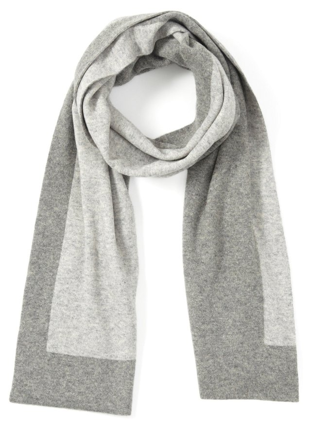 Men's Contrast Scarf, Dark Gray/Lt. Gray