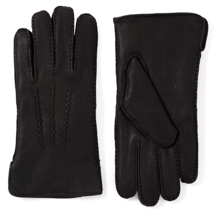 Men's Deerskin Black Glove w/3 Cords