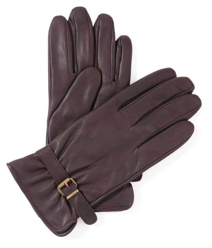 Men's Suede Brown Glove w/Buckle