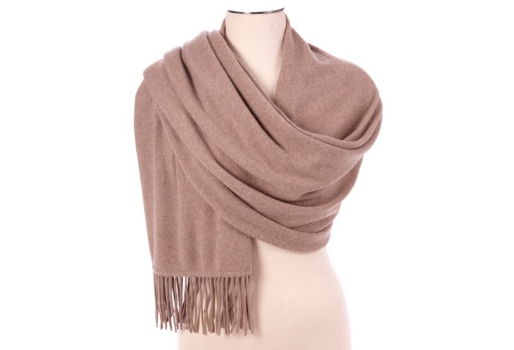 Cashmere Fringed Wrap, Natural Brown