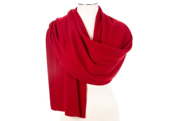 Cashmere Ribbed Wrap, Bloodstone