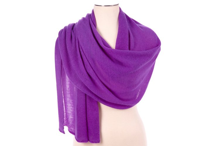 Cashmere Oblong Scarf, Royal Lilac