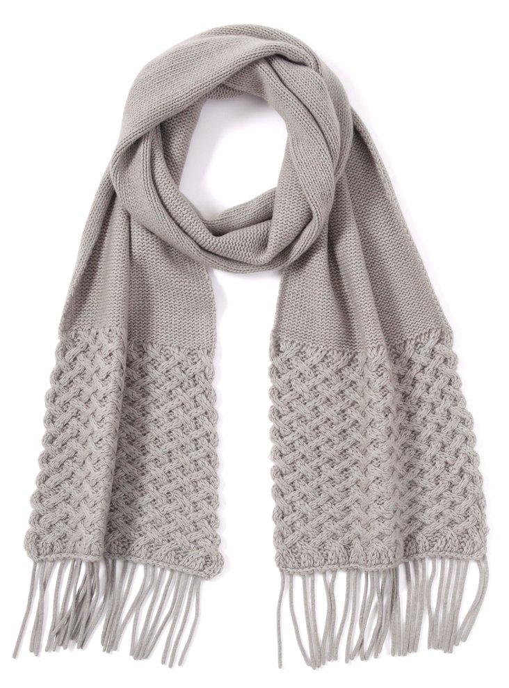 Basket Weave Scarf, Light Gray