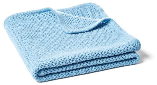 Minerva Fishnet Baby Blanket, Sky Blue