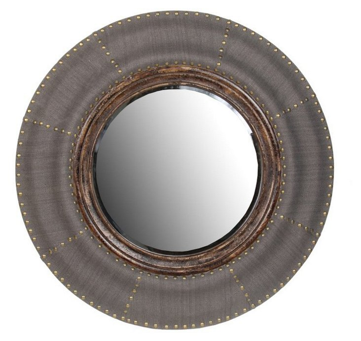 Round Conductor Wood Mirror
