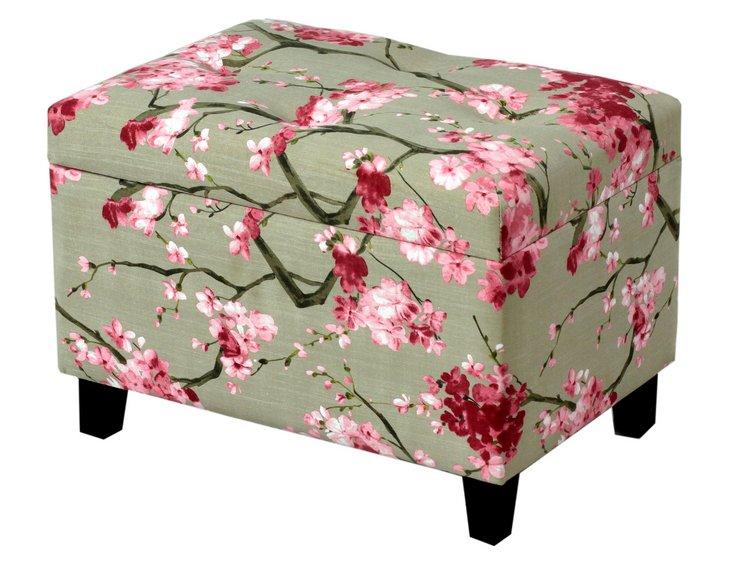 Ailsa Storage Ottoman, Sage/Pink