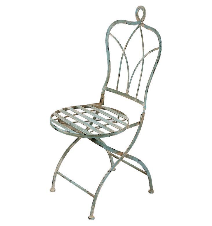Monroe Bistro Chair, Antiqued White/Aqua