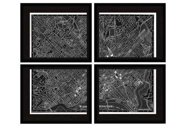 Map of Washington Canvas - Set of Four