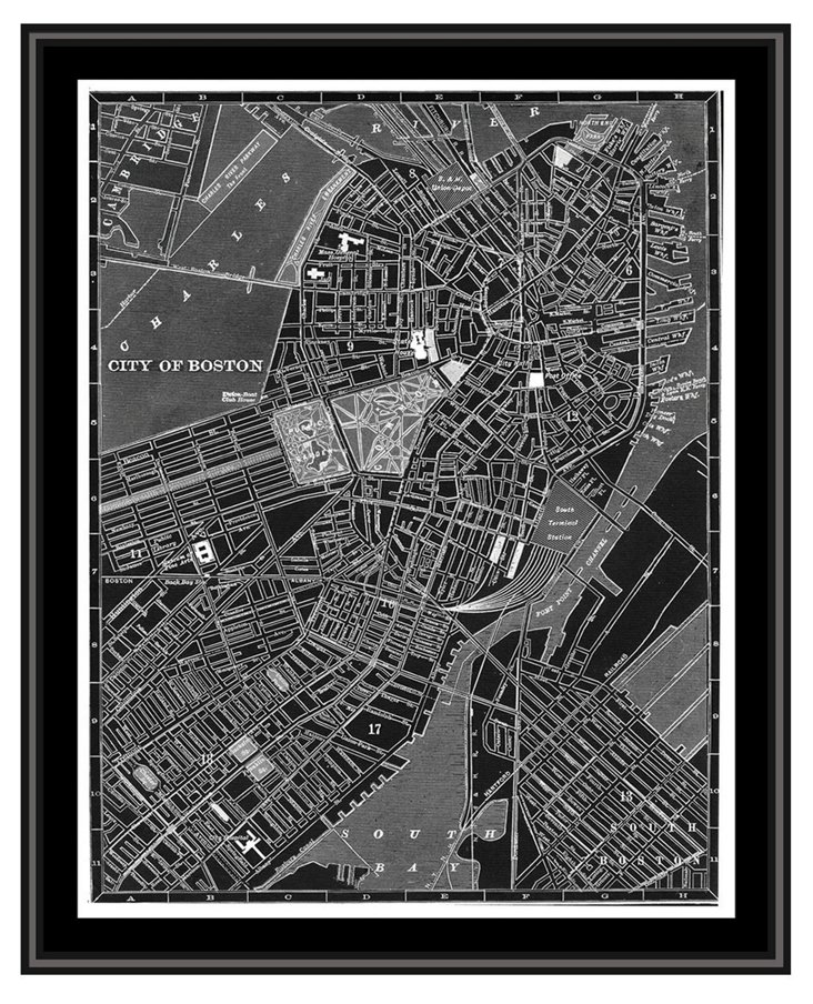 Map of Boston Canvas
