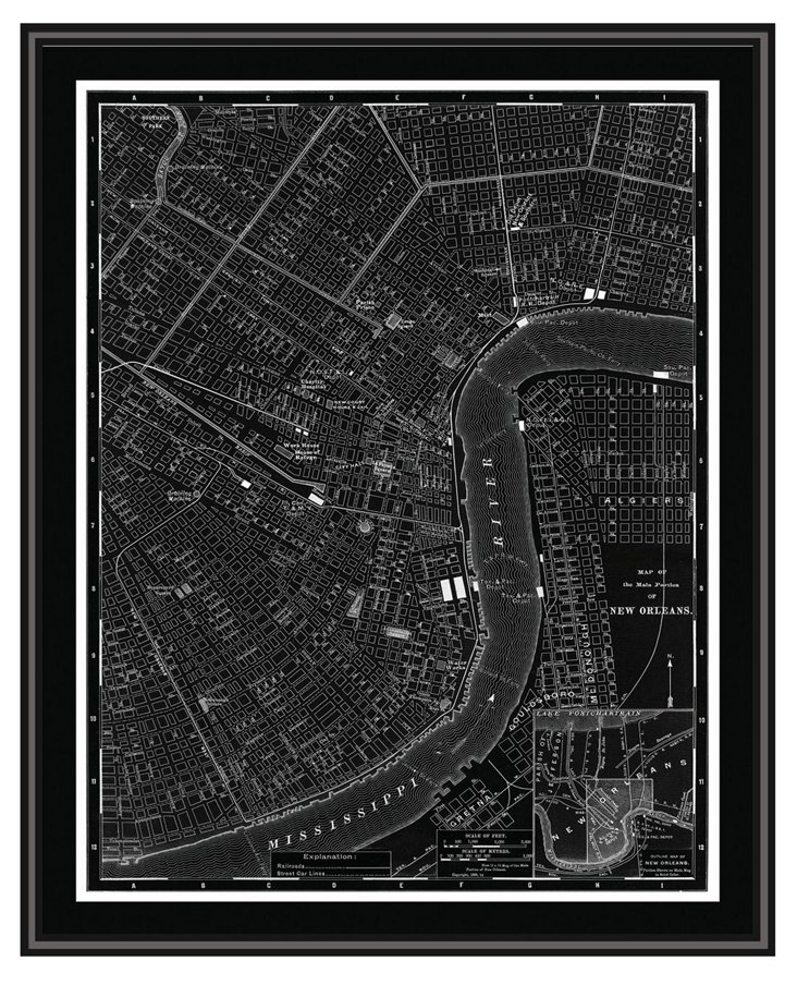 Map of New Orleans Canvas