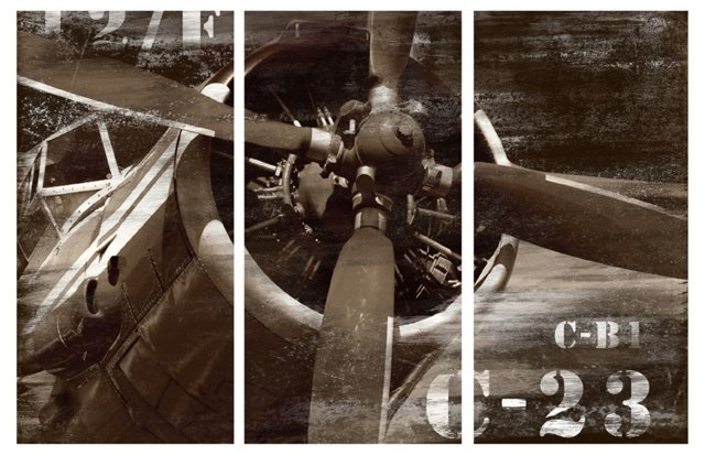 Vintage-Airplane Triptych Canvas