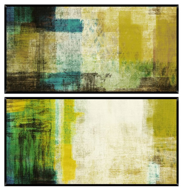 Green Abstract Diptych