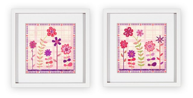 Cutesy Flowers Set of Two Print