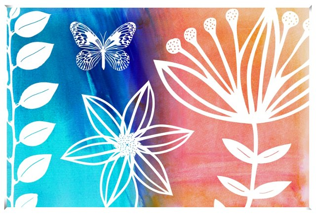Blue & Orange Floral Butterfly Print