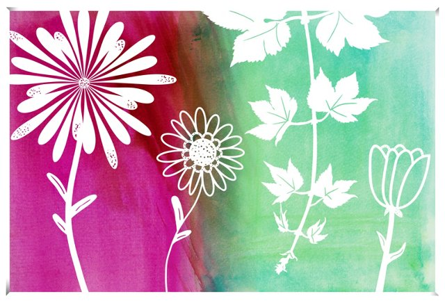Pink & Green Flowers Print