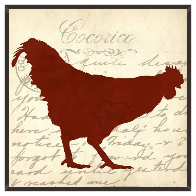 Rooster Silhouette Print I