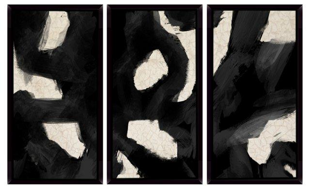 Contemporary Black Swirls Mini Triptych