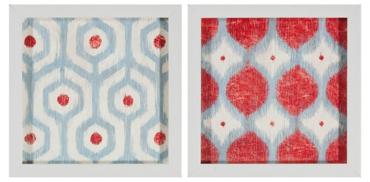 Blue and Red Framed Ikat, Set of Two