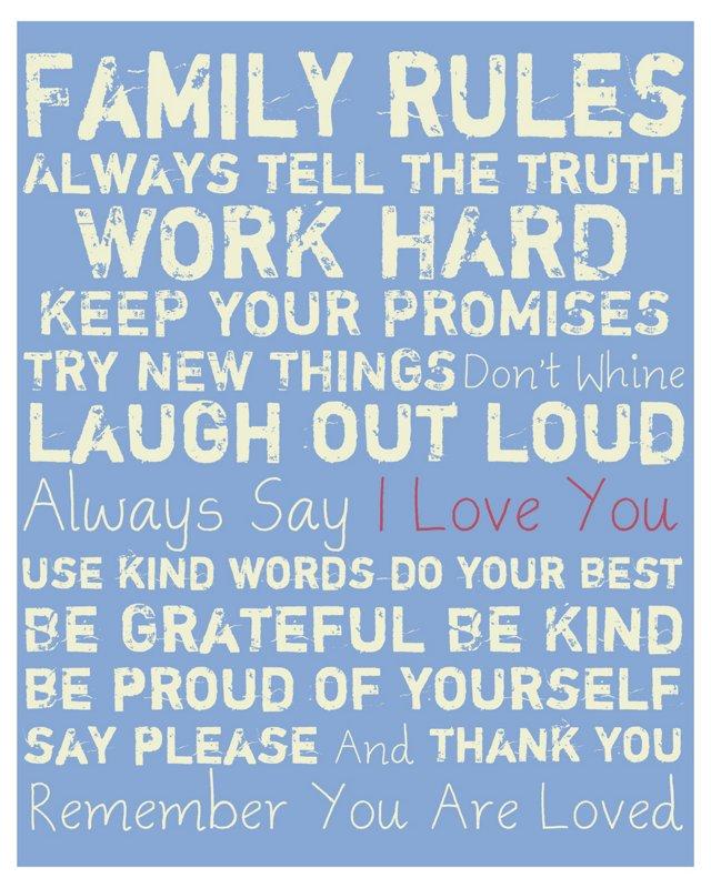 Family Rules, White on Blue