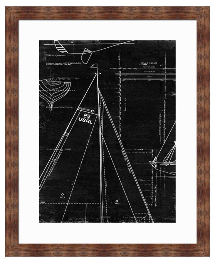 Black-and-White Sail Framed Giclée