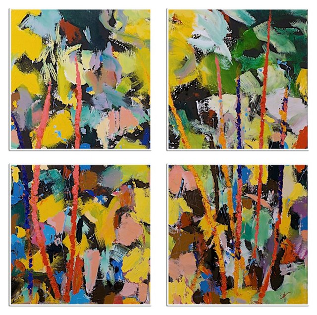 Colorful Abstract Quadriptych