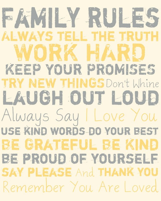 Family Rules Canvas, Gray & Yellow