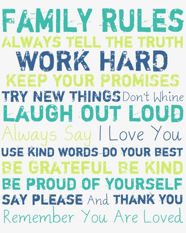 Family Rules Canvas, Blues & Greens