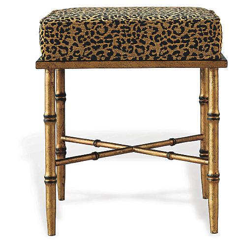 Arietta Gold Stool, Leopard