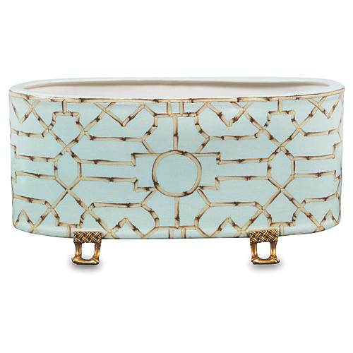 Scalamandre Baldwin Oval Planter, Blue